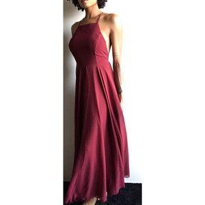 LuLu's Burgundy Razorback Maxi dress